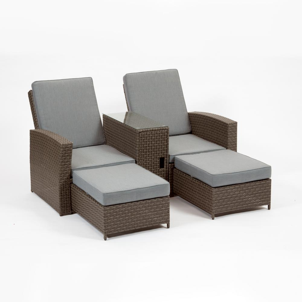 Plastic Lounge Chair Cayo Coco Brown Plastic Outdoor Lounge Chair With Grey Cushions 2 Pack