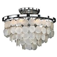 Glow Lighting Bayside 6-Light Capiz Shell and Chrome Frame ...