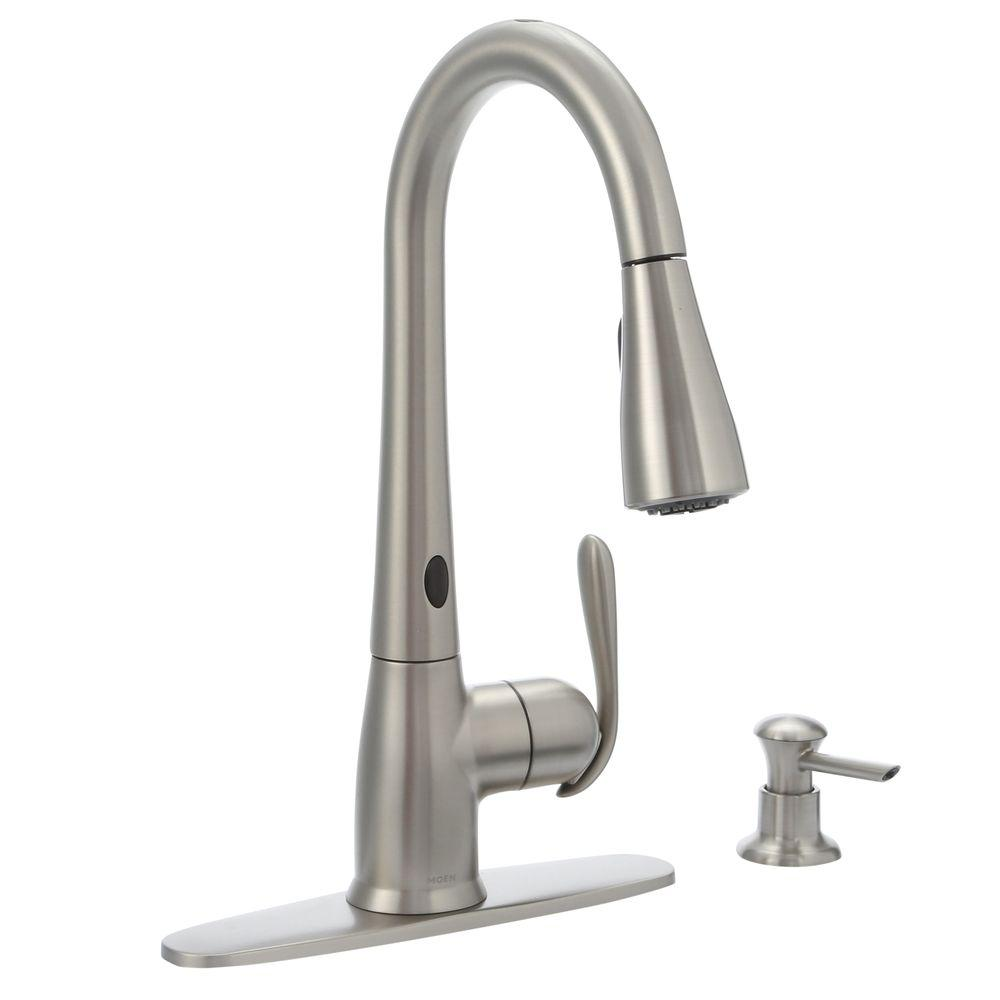kitchen faucet equipment rental los angeles moen haysfield single handle pulldown sprayer touchless w motionsense and power clean in spot resist stainless