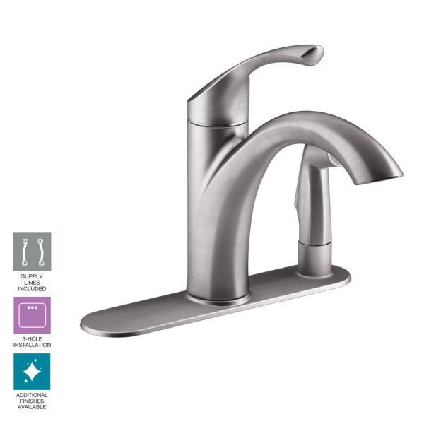 Kohler Mistos Standard Single-handle Pull- Sprayer Kitchen Faucet In Vibrant Stainless Steel