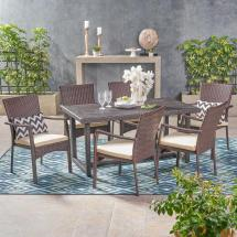 Noble House Knox Multi-brown 7-piece Wicker Outdoor Dining