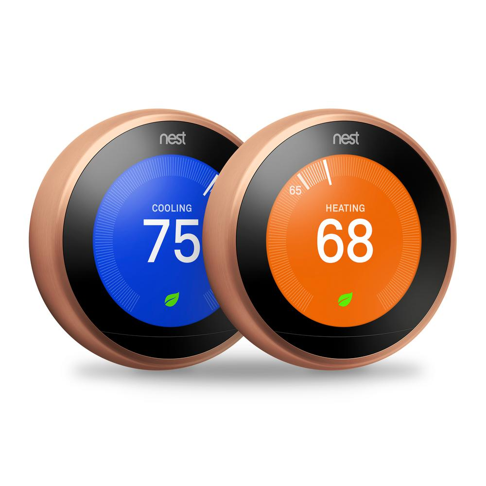 medium resolution of google nest learning thermostat 3rd gen in copper 2 pack