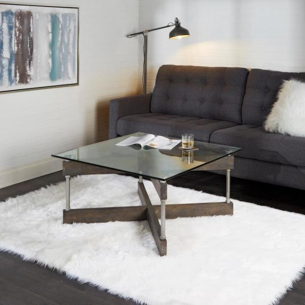 Silverwood Furniture Reimagined Garth X Beam Black Square Glass Coffee Table Cpft1293 Cof The Home Depot