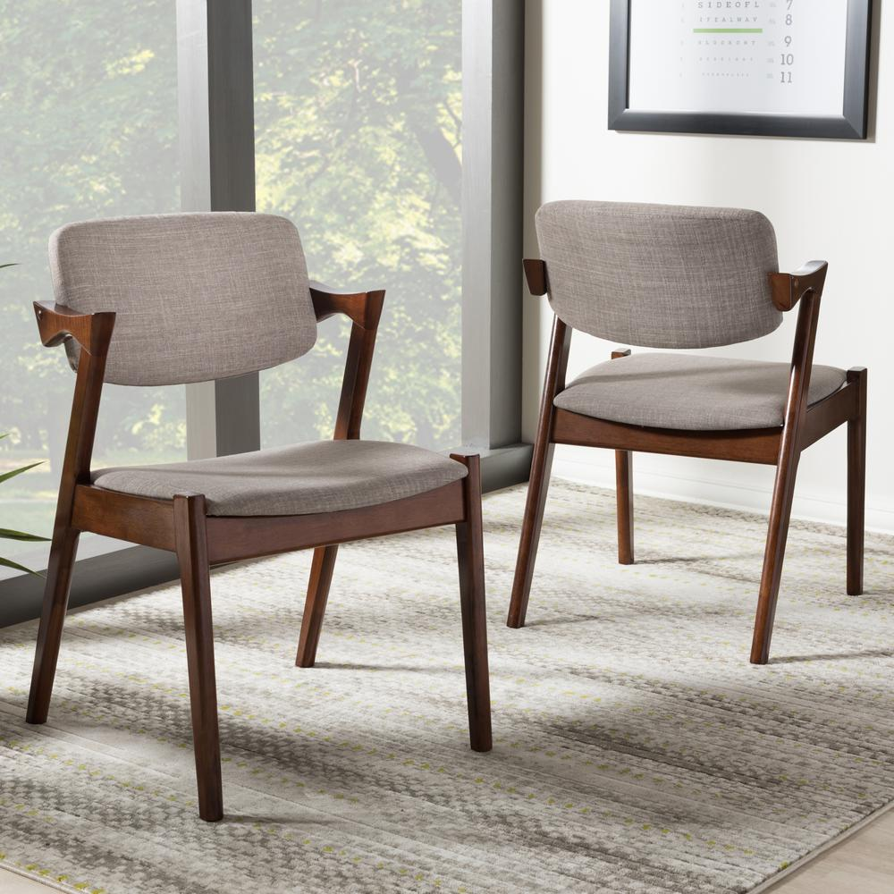 gray upholstered dining chairs flip chair sleeper baxton studio elegant fabric set of 2