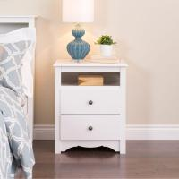 Prepac Monterey 2-Drawer White Nightstand-WDC-2428 - The ...