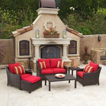 Rst Brands Deco 6-piece Patio Seating Set With Cantina Red