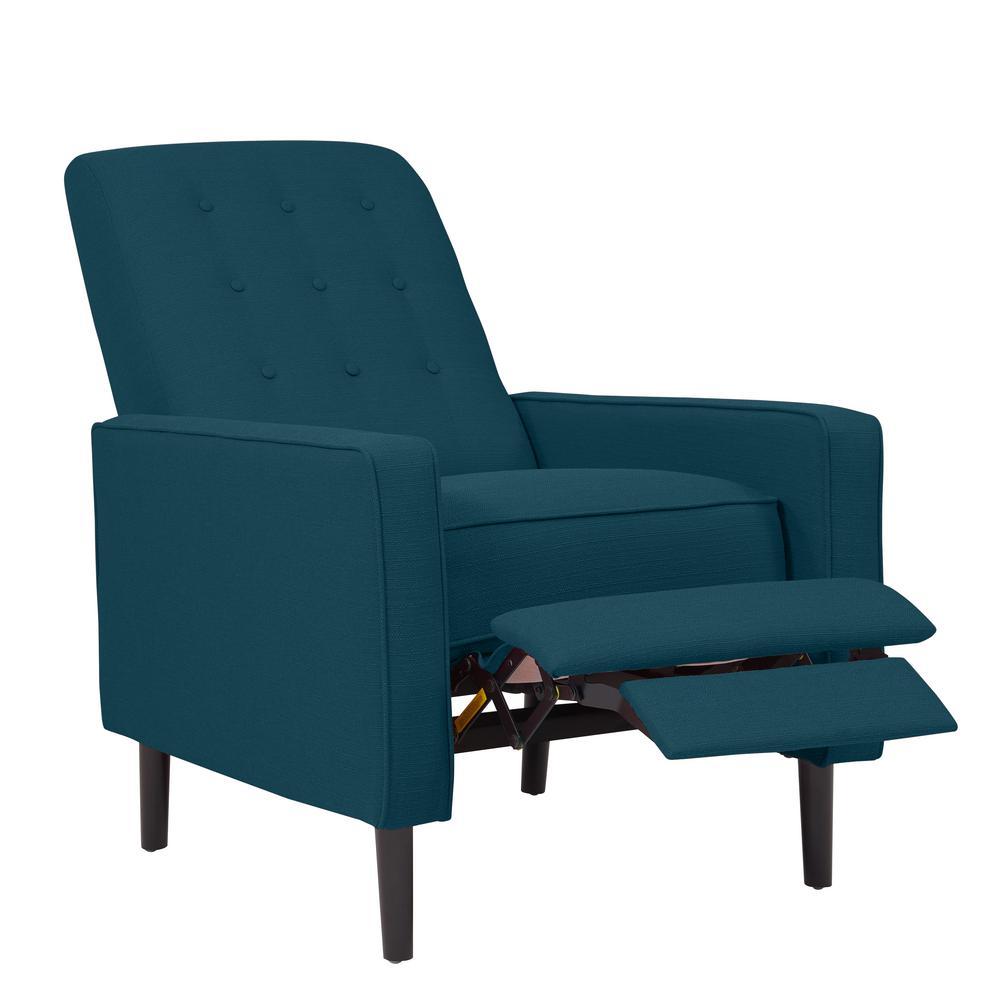 reclining chairs modern wheelchair olympics mid century recliners the home depot prolounger peacock blue linen push back recliner
