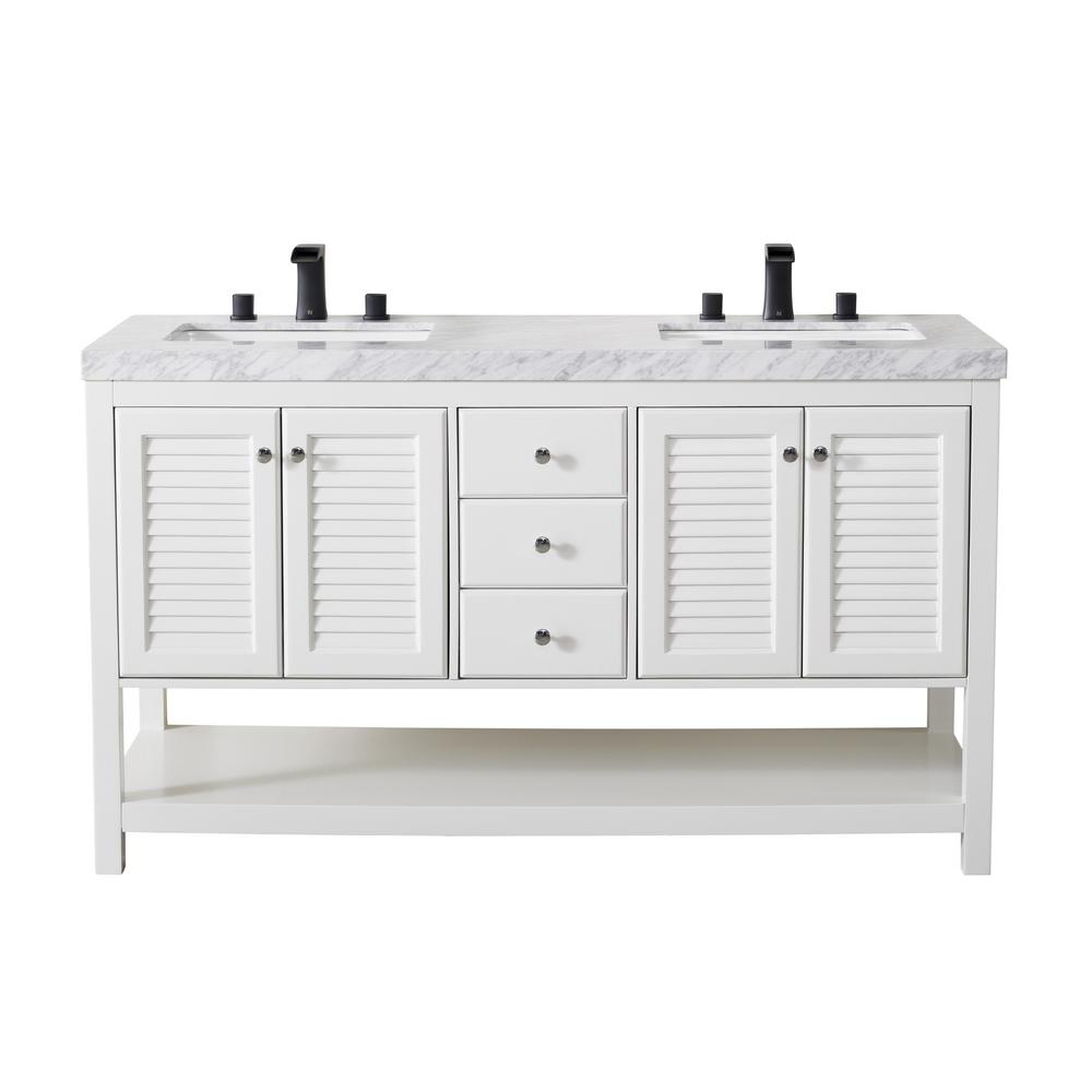 Stufurhome Luthor 60 In Bath Vanity In White With White Marble Vanity Top In White With White Basin And Matte Black Faucet Ty 365 60 888mb The Home Depot