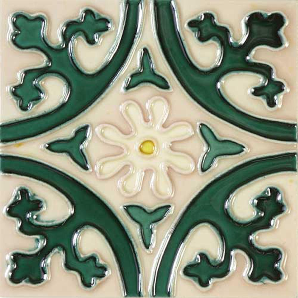 Solistone HandPainted Jardin Deco 6 in x 6 in x 635 mm Ceramic Wall Tile 25 sq ft  case