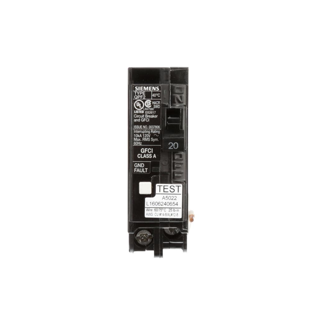 hight resolution of siemens 20 amp single pole type qpf2 gfci circuit breaker us2siemens 20 amp single pole type