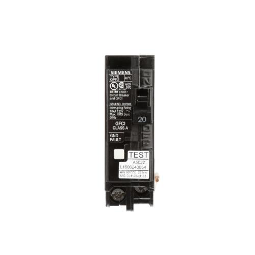 small resolution of siemens 20 amp single pole type qpf2 gfci circuit breaker us2siemens 20 amp single pole type