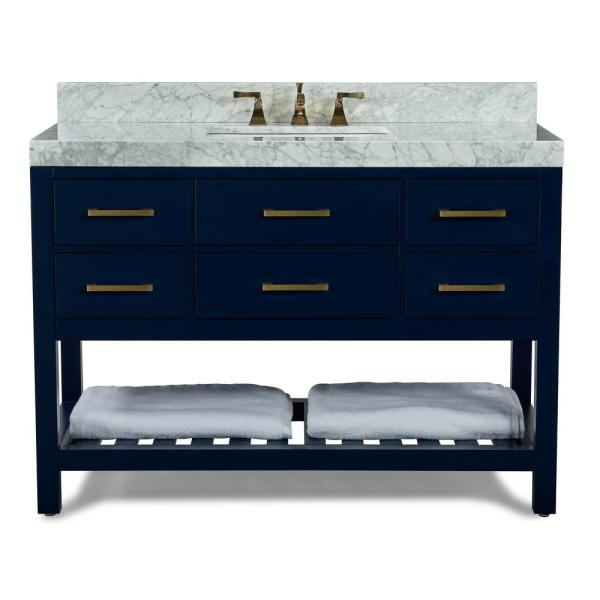 Ancerre Designs 48 In W X 22 In D Bath Vanity In Heritage Blue W Marble Vanity Top In White W White Basin And Gold Hardware Vts Elizabeth 48 Hb Cw Gd The Home Depot