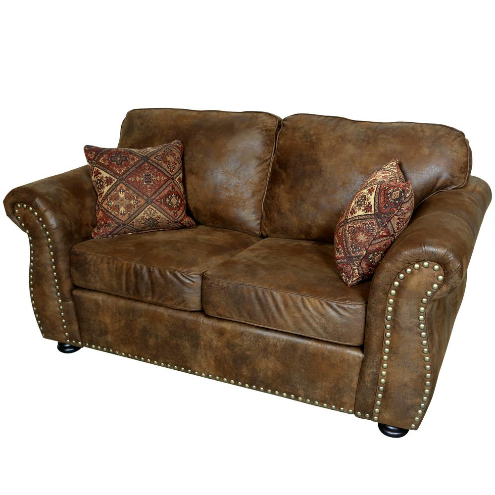 Home Decorators Collection Garrison Brown Leather Sofa1600400820  The Home Depot