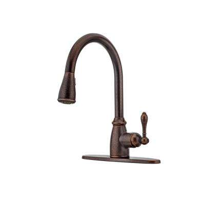 rustic kitchen faucets pot rack bronze the home depot canton single handle pull down sprayer faucet in