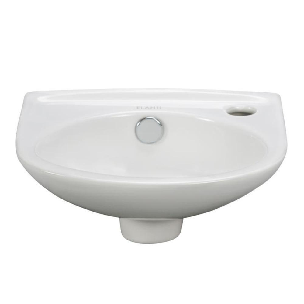Elanti WallMounted Oval Compact Bathroom Sink in White
