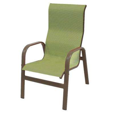 stackable metal patio chairs childrens rust resistant furniture marco island brownstone commercial grade aluminum dining chair with dupione kiwi sling 2