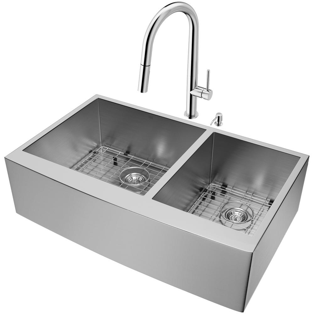 36 kitchen sink cabinets for less reviews vigo farmhouse apron front stainless steel in double bowl and faucet set chrome