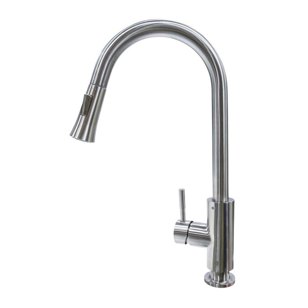 rv kitchen faucets decorative shelves lippert components flow max alphorn pull down shaped faucet