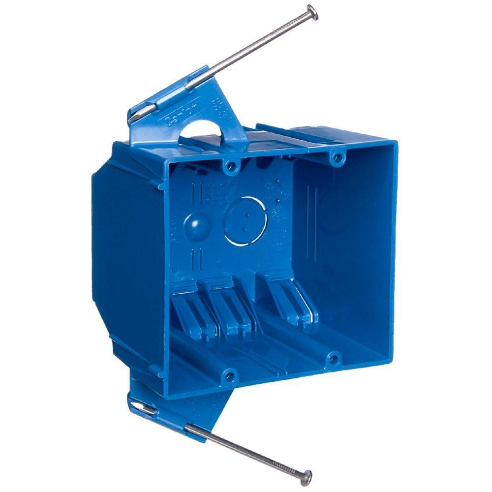 hight resolution of carlon 2 gang 32 cu in blue pvc new work electrical switch and