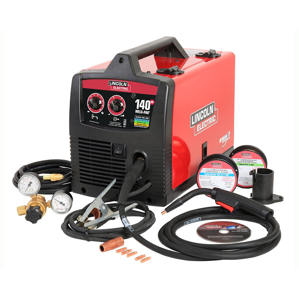 medium resolution of 140 amp weld pak 140 hd mig wire feed welder with magnum 100l gun sample spools of mig wire and flux wire 115v
