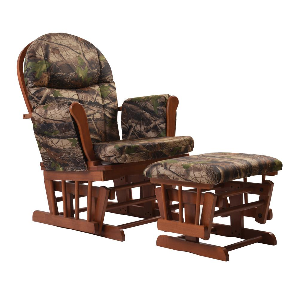rocking chair ottoman cushions kohls butterfly artiva home deluxe camouflage fabric cushion glider and set