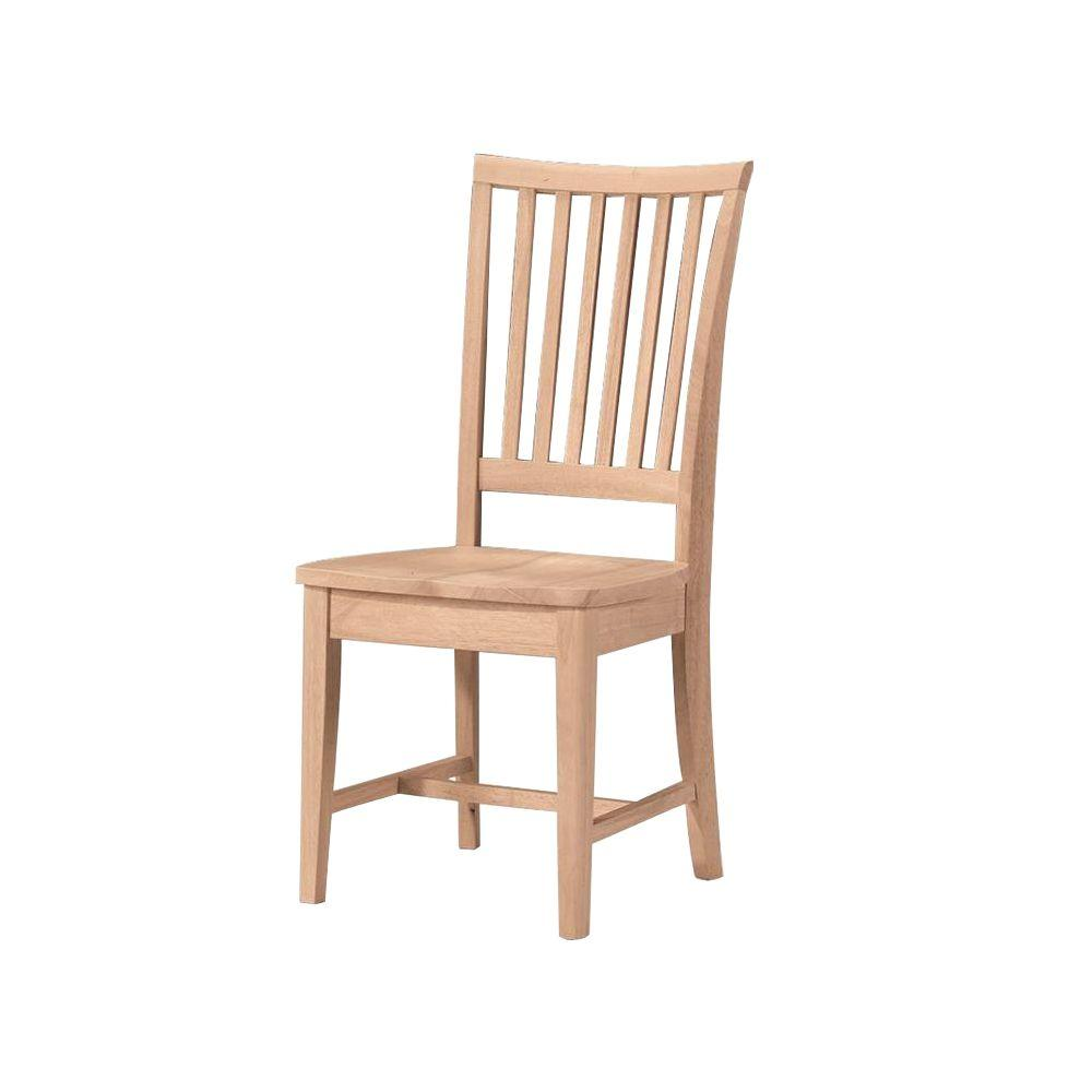 Dining Chair Set Of 2 Unfinished Wood Mission Dining Chair Set Of 2