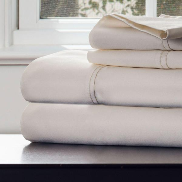 Lavish Home 4-piece Ivory 1000 Count Cotton Sateen King Sheet Set-66-k0016- - Depot
