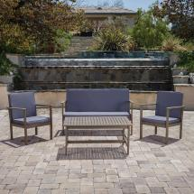 Noble House Gray 4-piece Wood Patio Conversation Set With