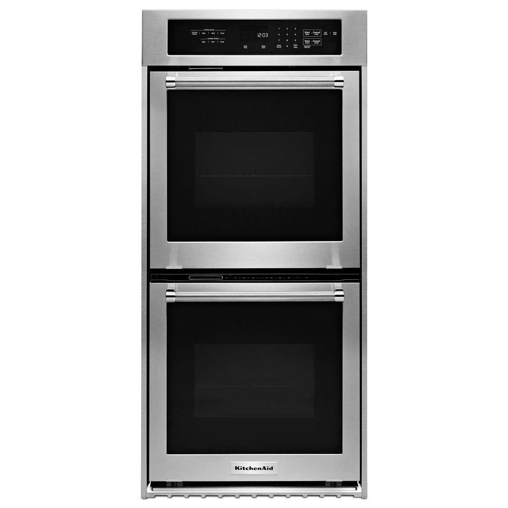 kitchen aid ovens wall tiles kitchenaid 24 in double electric oven self cleaning with convection stainless steel