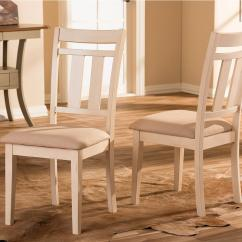 White Distressed Dining Chairs Outdoor Baxton Studio Roseberry Beige Fabric And Wood Set Of 2