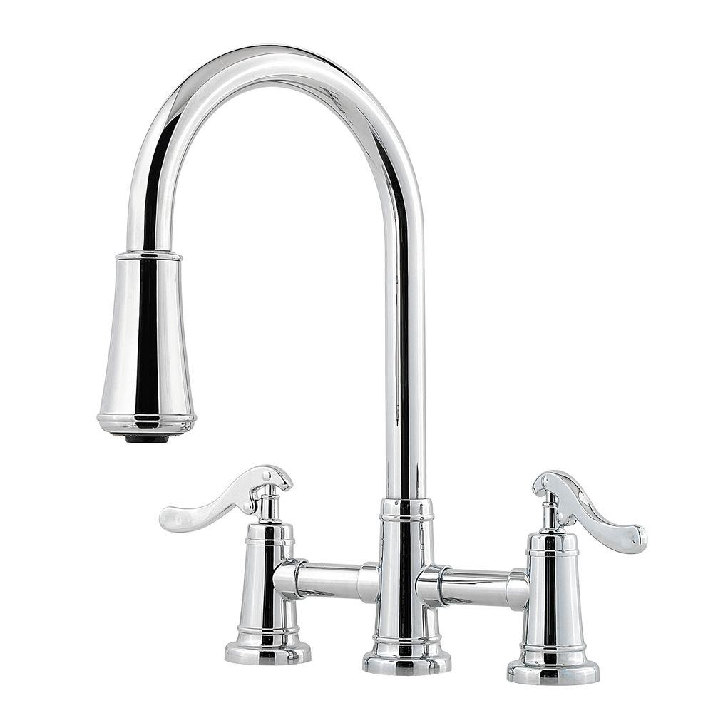 kitchen pull down faucet island with shelves pfister ashfield 2 handle sprayer bridge in polished chrome