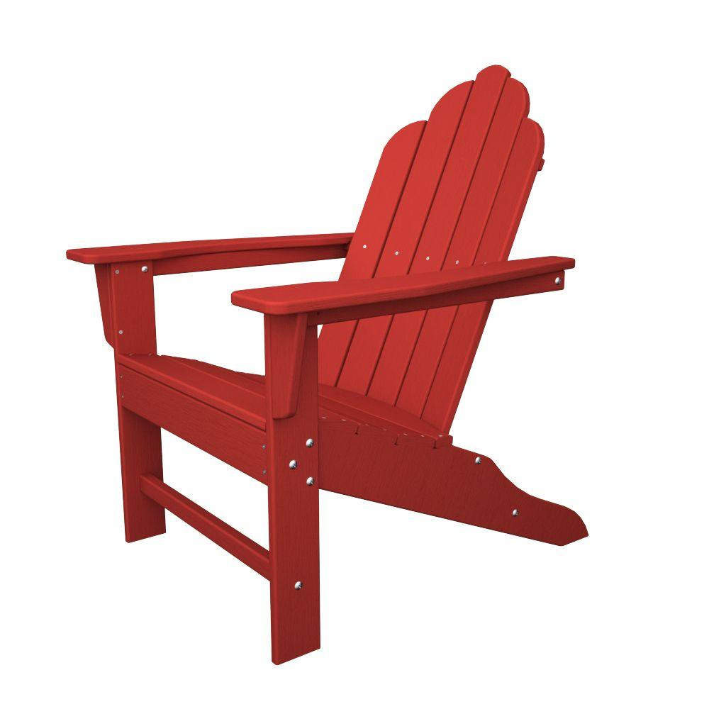 adirondack chairs at lowes ergonomic standing desk chair patio the home depot long island sunset red plastic