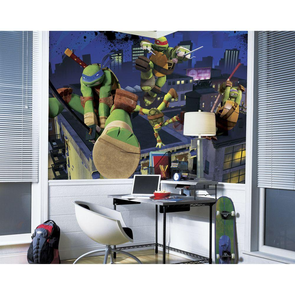 ninja turtles chair funky bed roommates 72 in x 126 teenage mutant cityscape rail prepasted
