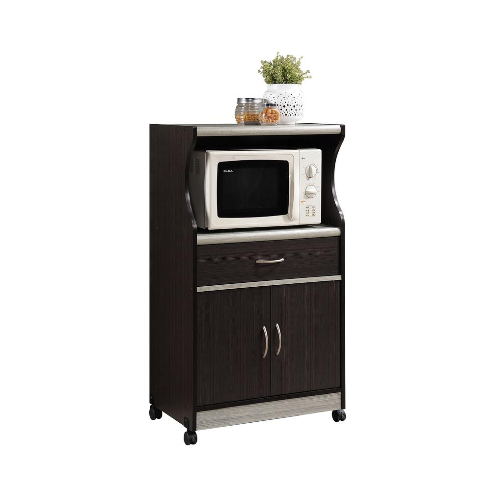 kitchen cart with drawers cabinet desk units hodedah 1 drawer chocolate grey microwave hik77 choc the home depot