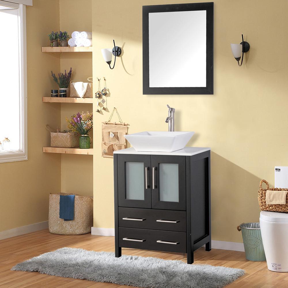 Vanity Art Ravenna 24 In W X 18 5 In D X 36 In H Bathroom Vanity In Espresso With Single Basin Top In White Ceramic And Mirror Va3124e The Home Depot