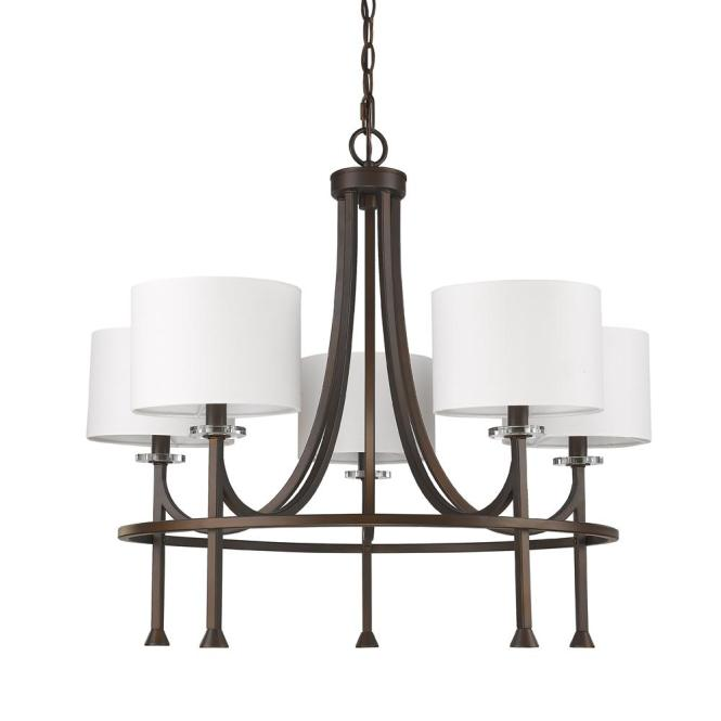 Acclaim Lighting Kara 5 Light Indoor Chandelier With Shades And Crystal Bobeches In Oil Rubbed
