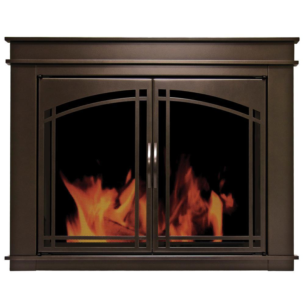 Pleasant Hearth Fenwick Small Glass Fireplace Doors