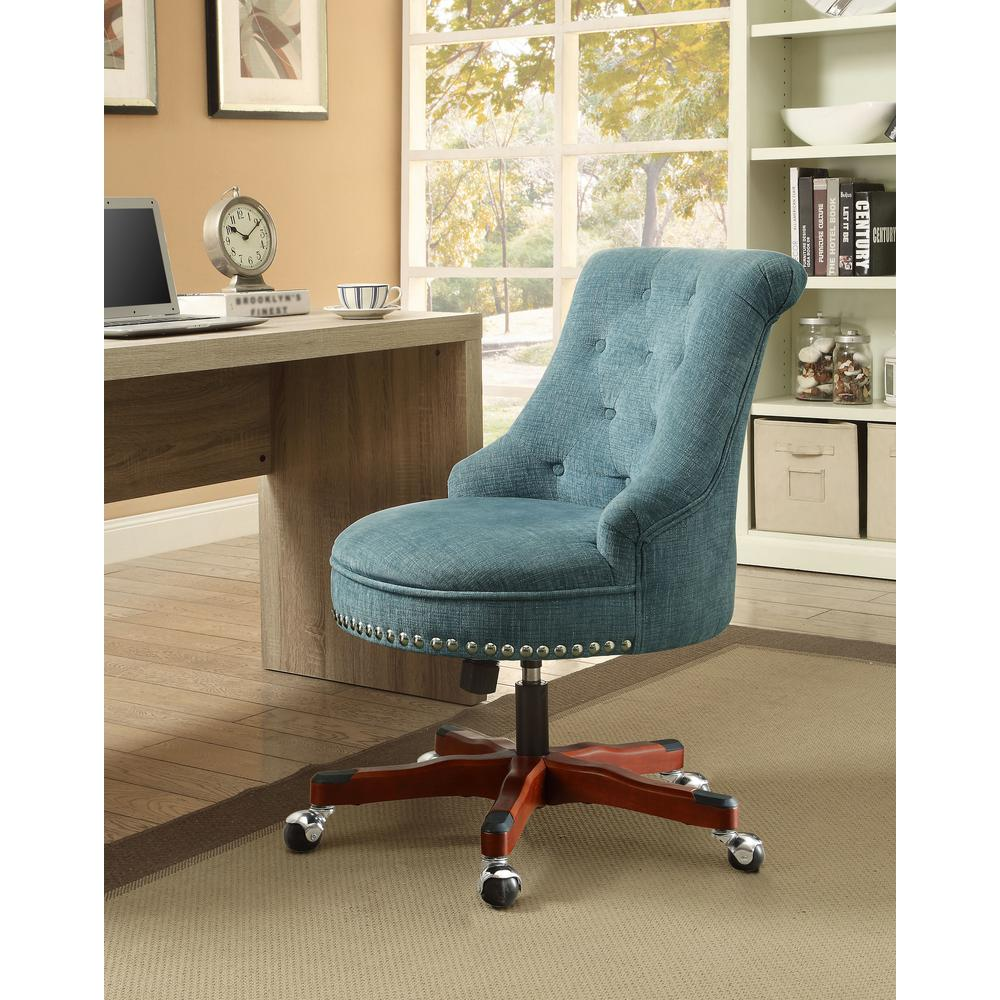 aqua desk chair cover rental lafayette la linon home decor sinclair polyester office 178403aqua01u