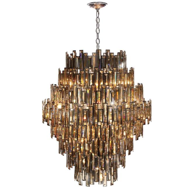 Eurofase Vienna Collection 28 Light Chrome Chandelier With Crystal Shade 31889 018 The Home Depot