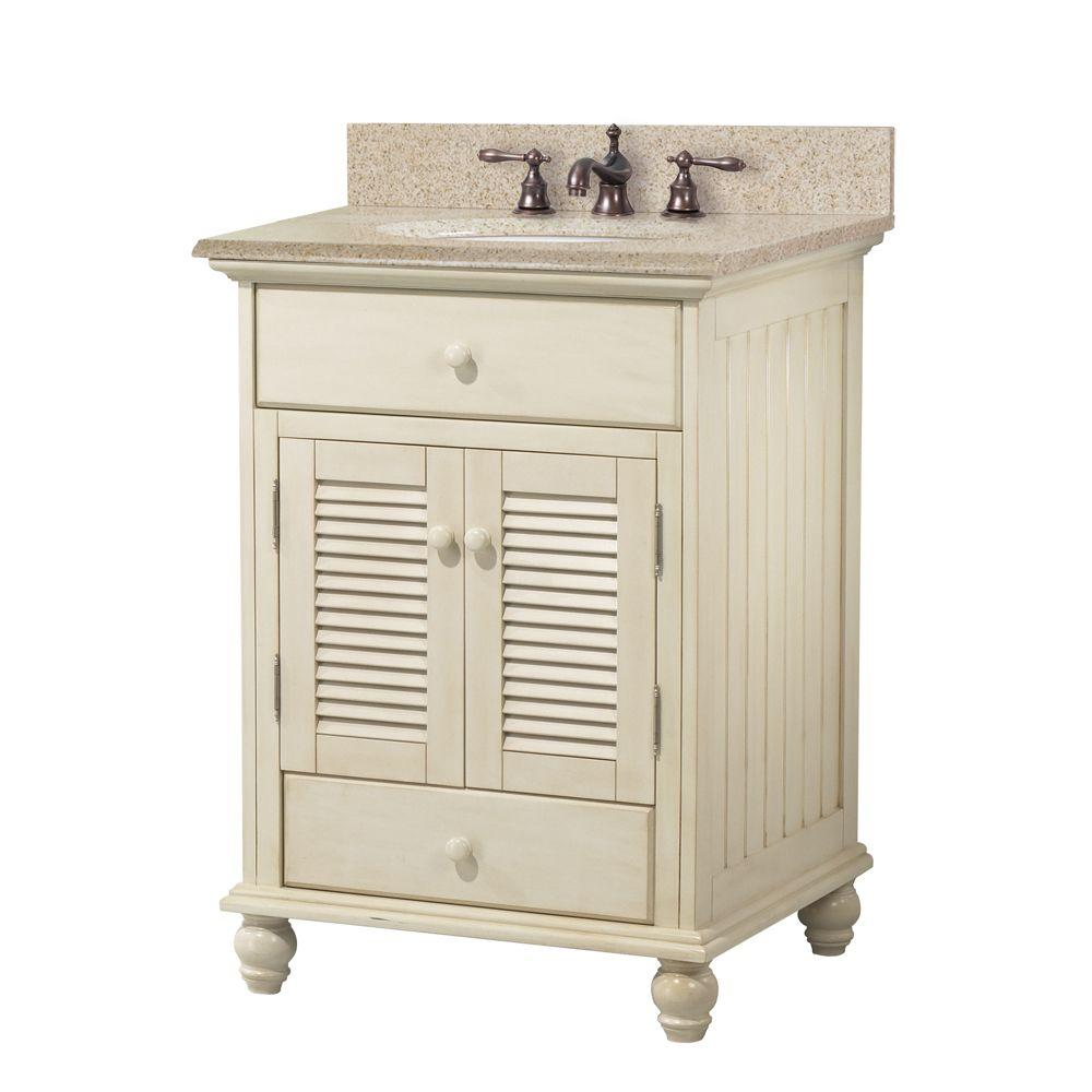Foremost Cottage 25 in W x 22 in D Bath Vanity in Antique White with Granite Vanity Top in