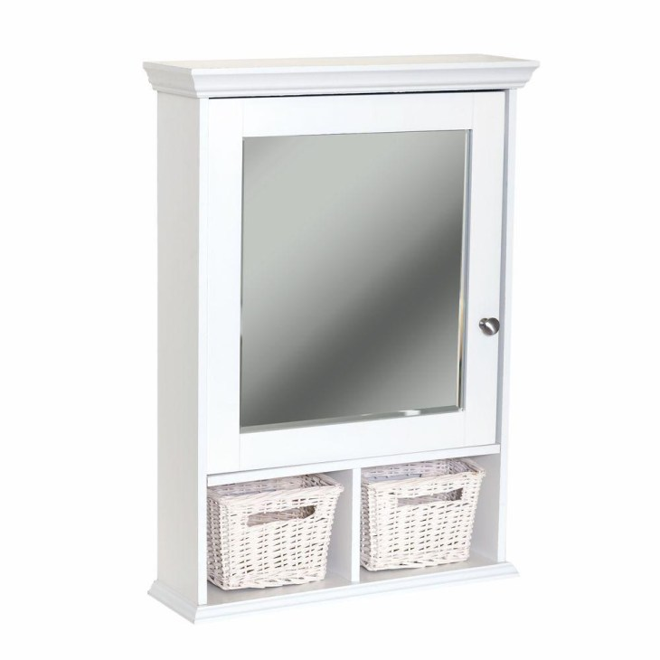 Wood Surface Mount Medicine Cabinet with Baskets in White with Beveled  Mirror