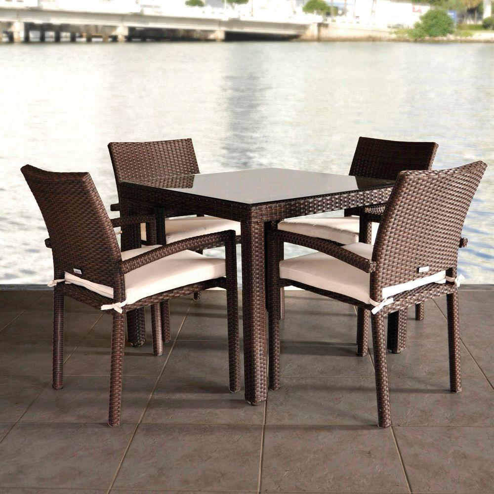 liberty dining chairs kings throne chair atlantic contemporary lifestyle 5 piece patio set with beige cushions
