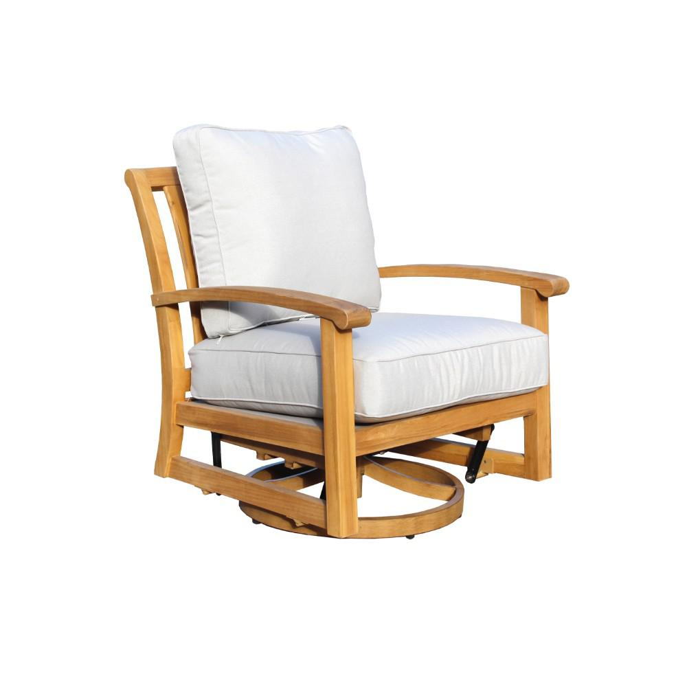 teak lounge chair wedding cover hire county durham courtyard casual heritage collection swivel outdoor with grey cushions