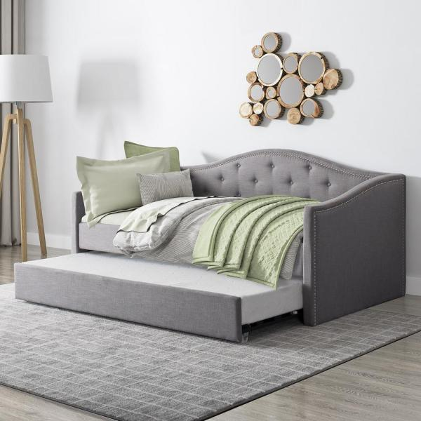 Corliving Fairfield Grey Tufted Fabric Trundle Twin Single