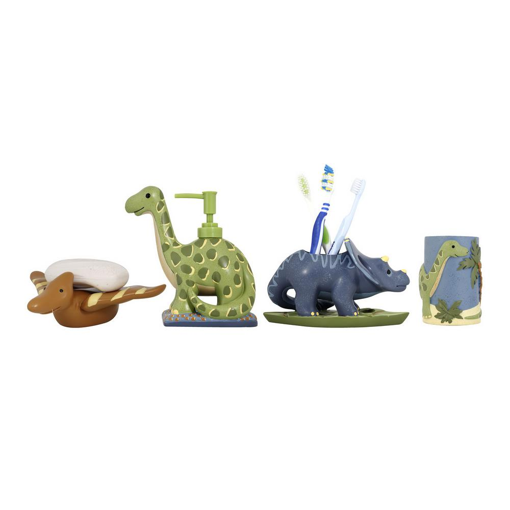 MODONA Dinosaur 4Piece Kids Bathroom Accessories Set in