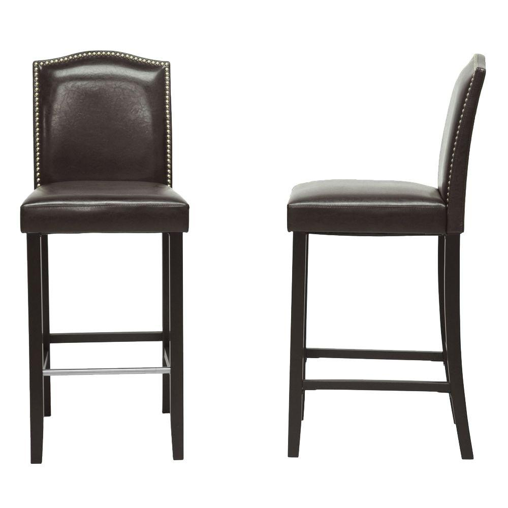 Upholstered Bar Chairs Libra Dark Brown Faux Leather Upholstered 2 Piece Bar Stool Set