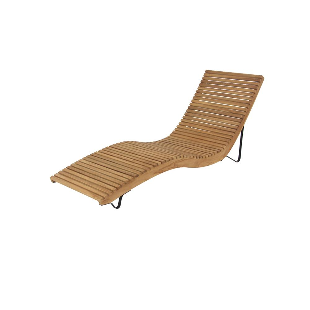 wooden lounge chair carters high litton lane white teak wood slanted and curved chaise
