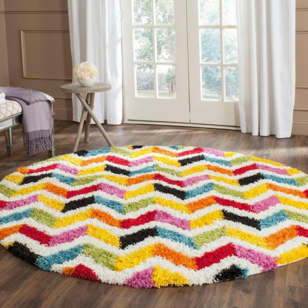 Safavieh Kids Shag Ivory Multi 6 Ft. 7 In. X Area Rug-sgk565a-7r - Home Depot