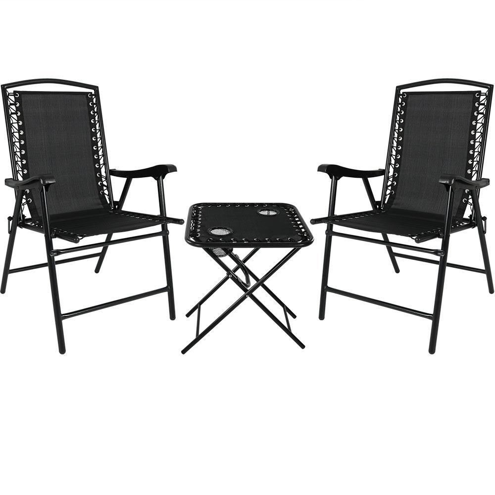 Beach Folding Chairs Sunnydaze Decor Black Sling Folding Beach Chair Set With Matching Side Table Set Of 2