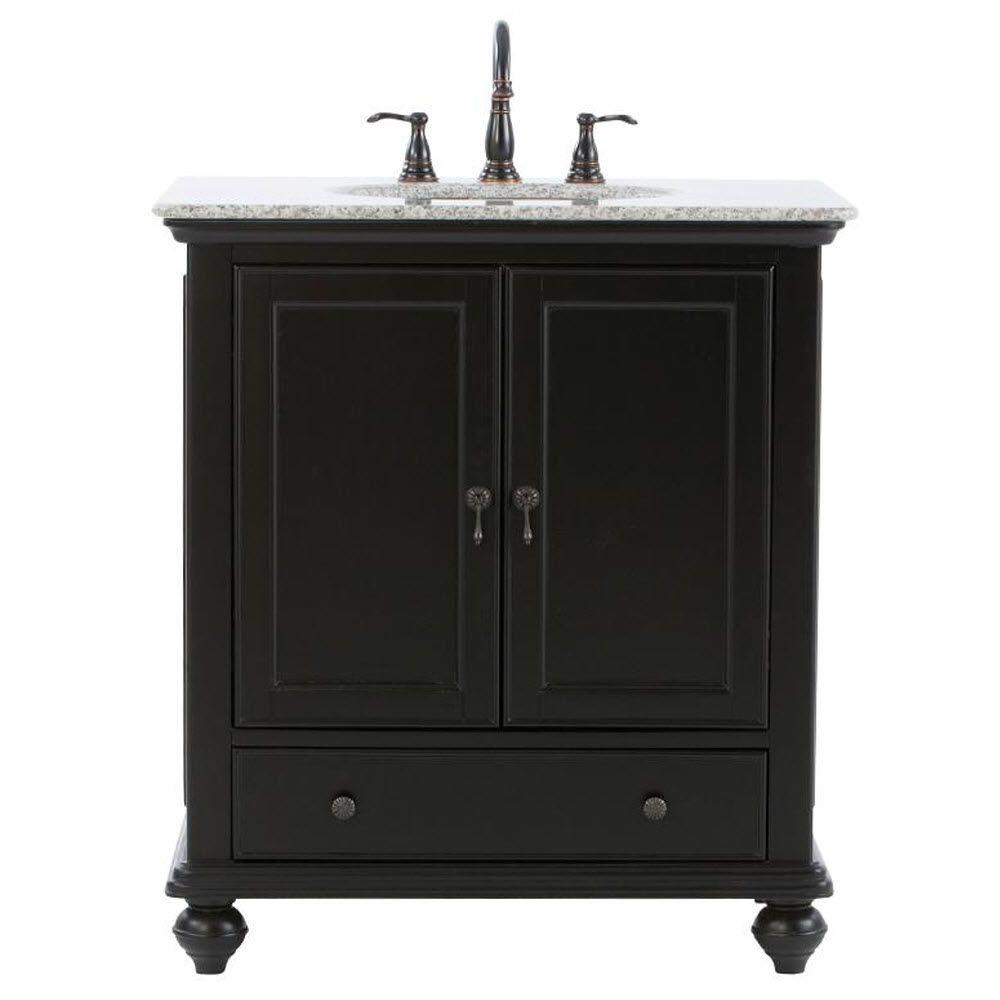 Home Decorators Collection Newport 49 In W X 21 1 2 In D Bath Vanity In Black With Granite Vanity Top In Grey 9085 Vs49h Bk The Home Depot